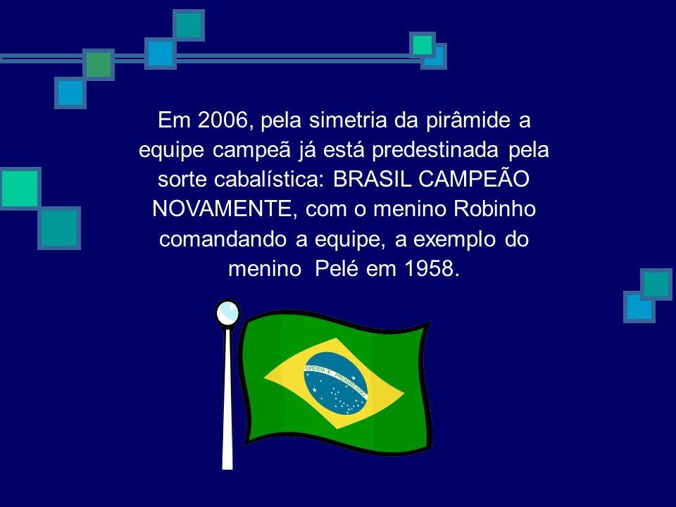 Em 2006, pela simetria da pirâmide a equipe campeã já está predestinada pela sorte cabalística: BRASIL CAMPEÃO NOVAMENTE, com o menino Robinho comanda