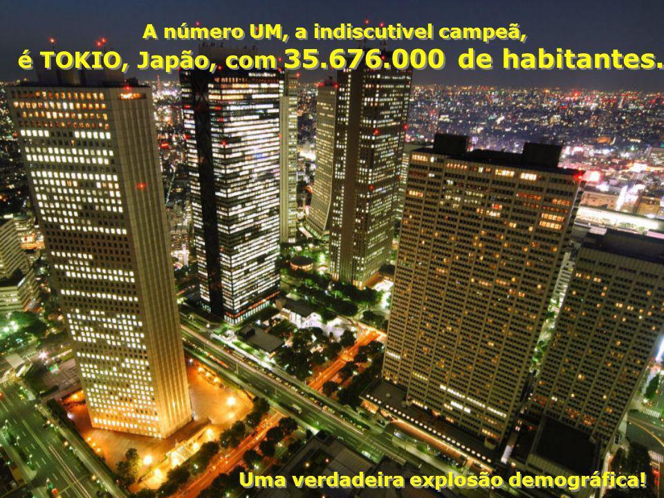A número UM, a indiscutivel campeã, é TOKIO, Japão, com 35.676.000 de habitantes.