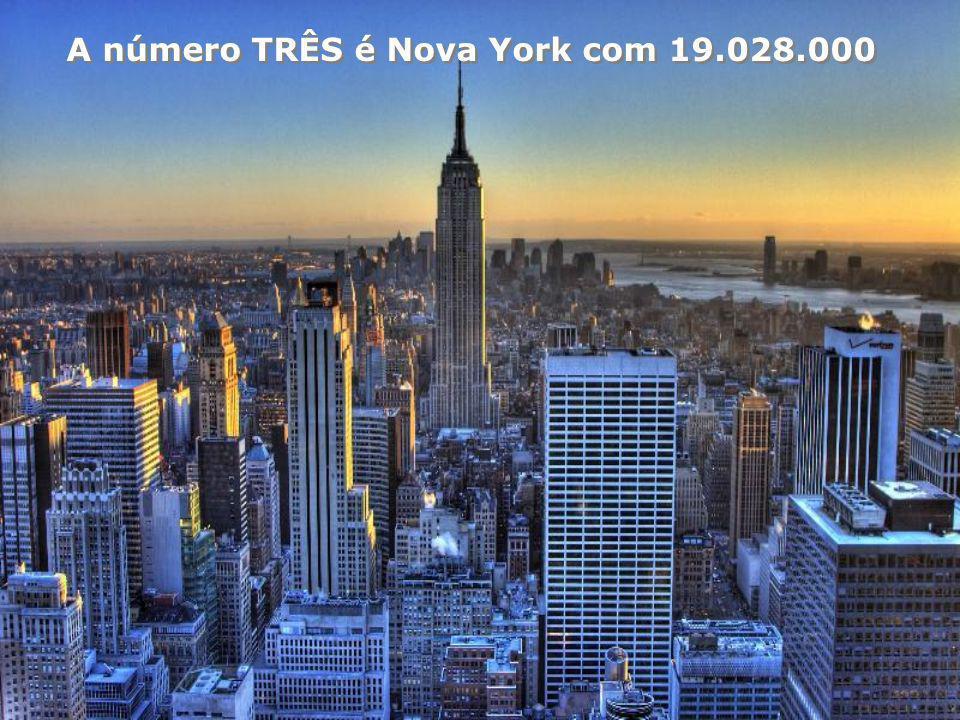 A número TRÊS é Nova York com 19.028.000