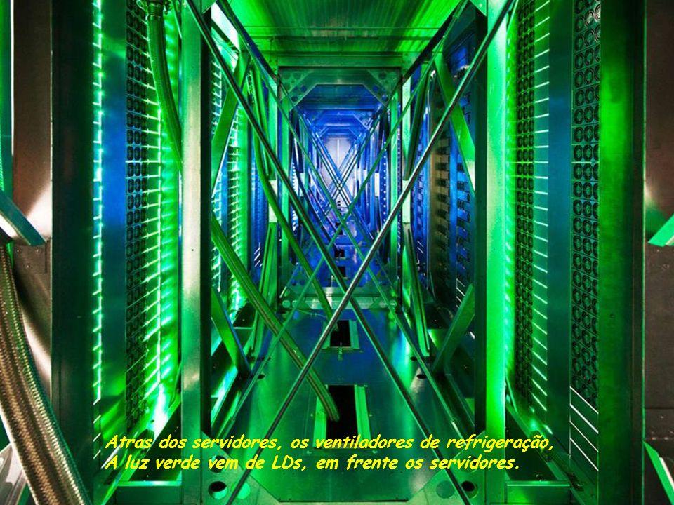 Atras dos servidores, os ventiladores de refrigeração, A luz verde vem de LDs, em frente os servidores.