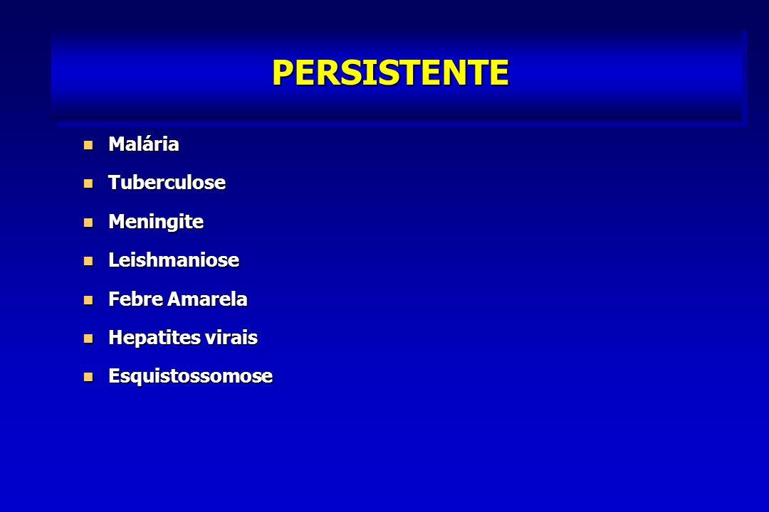 PERSISTENTE Malária Malária Tuberculose Tuberculose Meningite Meningite Leishmaniose Leishmaniose Febre Amarela Febre Amarela Hepatites virais Hepatites virais Esquistossomose Esquistossomose