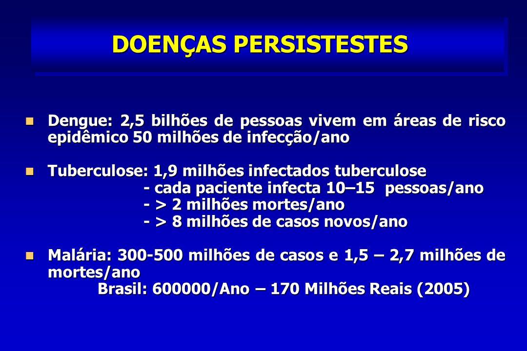 DOENÇAS PERSISTESTES Dengue: 2,5 bilhões de pessoas vivem em áreas de risco epidêmico 50 milhões de infecção/ano Dengue: 2,5 bilhões de pessoas vivem em áreas de risco epidêmico 50 milhões de infecção/ano Tuberculose: 1,9 milhões infectados tuberculose Tuberculose: 1,9 milhões infectados tuberculose - cada paciente infecta 10–15 pessoas/ano - cada paciente infecta 10–15 pessoas/ano - > 2 milhões mortes/ano - > 2 milhões mortes/ano - > 8 milhões de casos novos/ano - > 8 milhões de casos novos/ano Malária: 300-500 milhões de casos e 1,5 – 2,7 milhões de mortes/ano Malária: 300-500 milhões de casos e 1,5 – 2,7 milhões de mortes/ano Brasil: 600000/Ano – 170 Milhões Reais (2005) Brasil: 600000/Ano – 170 Milhões Reais (2005)