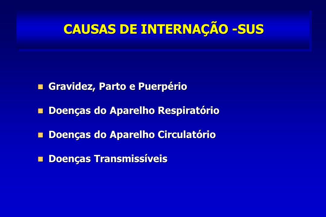 CAUSAS DE INTERNAÇÃO -SUS Gravidez, Parto e Puerpério Gravidez, Parto e Puerpério Doenças do Aparelho Respiratório Doenças do Aparelho Respiratório Doenças do Aparelho Circulatório Doenças do Aparelho Circulatório Doenças Transmissíveis Doenças Transmissíveis