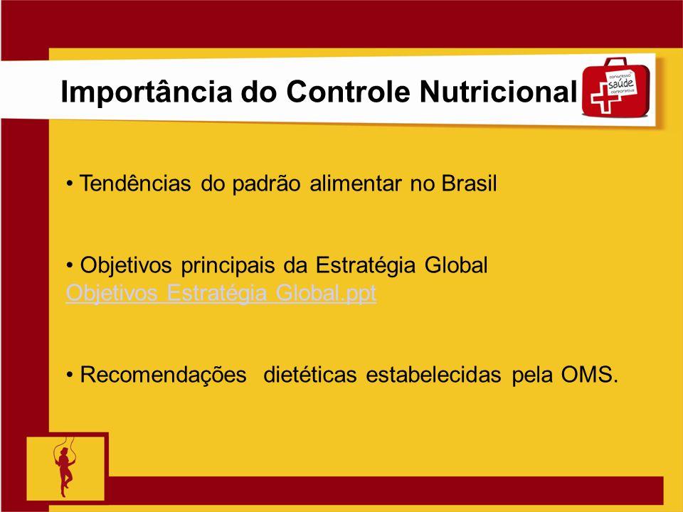 Clique para editar o estilo do título mestre Slide 7 Importância do Controle Nutricional Tendências do padrão alimentar no Brasil Objetivos principais