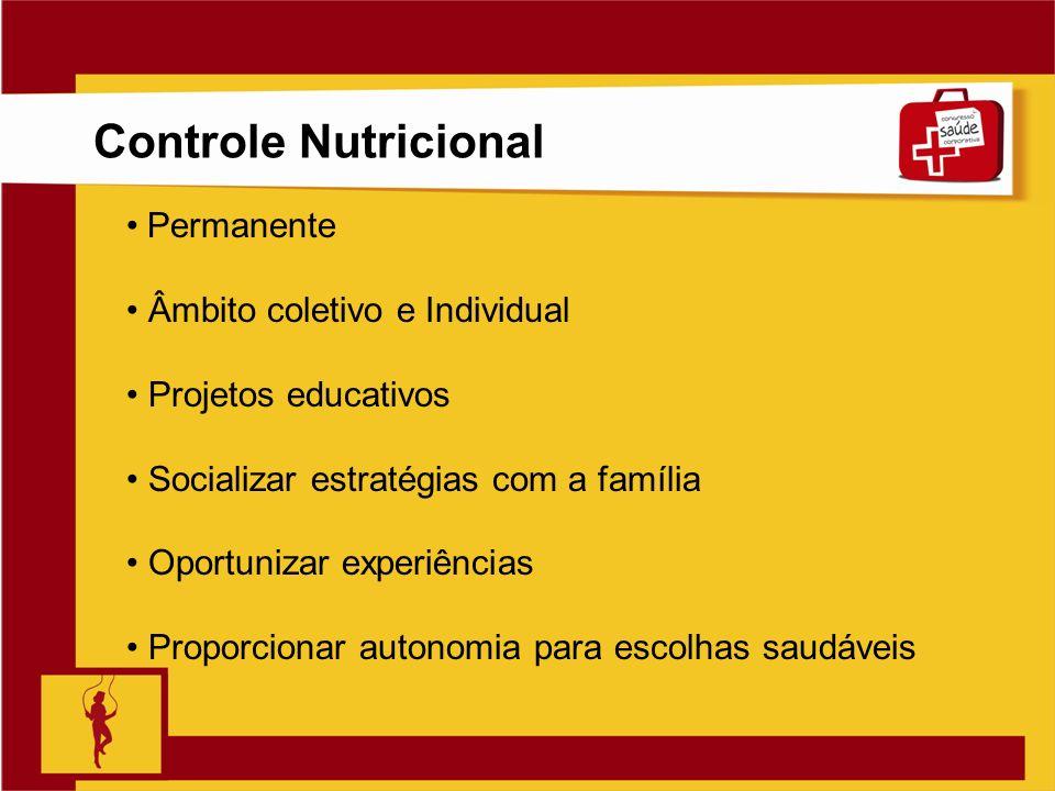 Clique para editar o estilo do título mestre Slide 8 Controle Nutricional Permanente Âmbito coletivo e Individual Projetos educativos Socializar estra