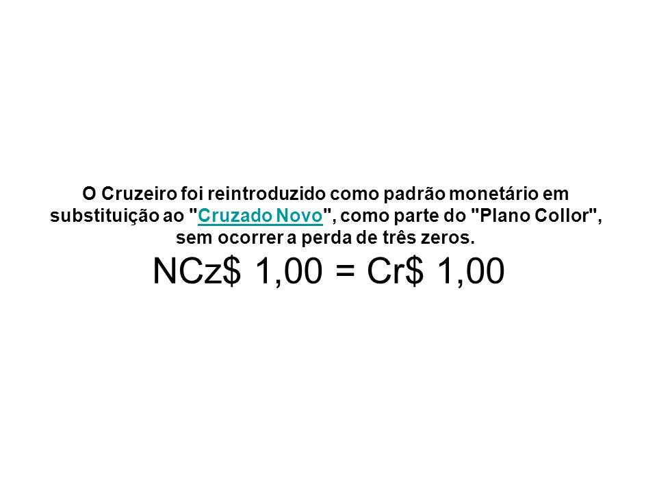 O Cruzeiro foi reintroduzido como padrão monetário em substituição ao