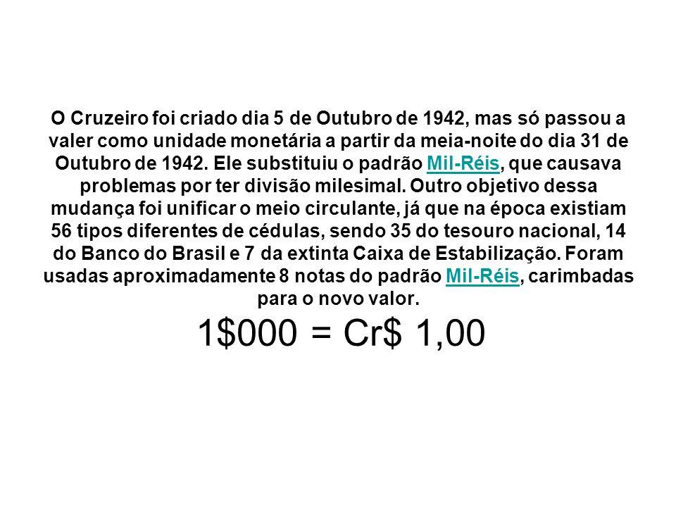 O Cruzeiro foi criado dia 5 de Outubro de 1942, mas só passou a valer como unidade monetária a partir da meia-noite do dia 31 de Outubro de 1942. Ele