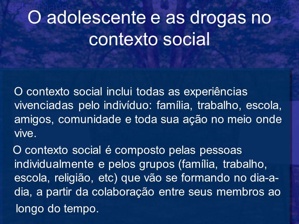 O adolescente e as drogas no contexto social O contexto social inclui todas as experiências vivenciadas pelo indivíduo: família, trabalho, escola, ami