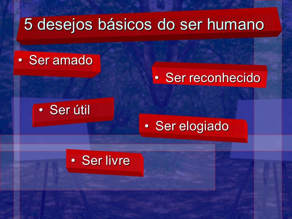 5 desejos básicos do ser humano Ser amadoSer amado Ser reconhecidoSer reconhecido Ser útilSer útil Ser elogiadoSer elogiado Ser livreSer livre