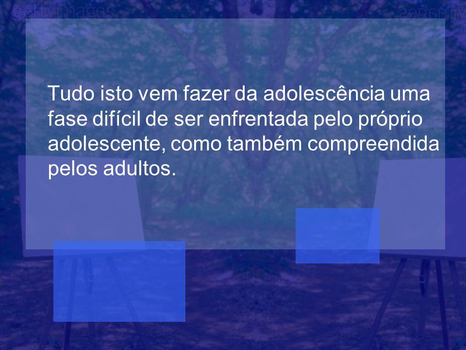 Tudo isto vem fazer da adolescência uma fase difícil de ser enfrentada pelo próprio adolescente, como também compreendida pelos adultos.