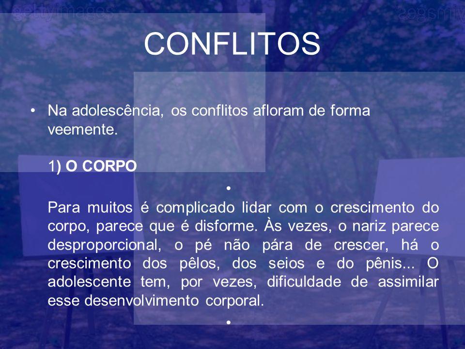 CONFLITOS Na adolescência, os conflitos afloram de forma veemente. 1) O CORPO Para muitos é complicado lidar com o crescimento do corpo, parece que é