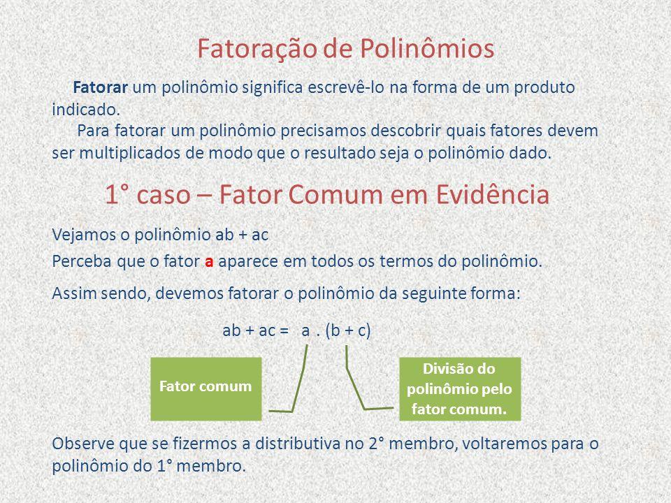 Fatoração de Polinômios Fatorar um polinômio significa escrevê-lo na forma de um produto indicado. Para fatorar um polinômio precisamos descobrir quai