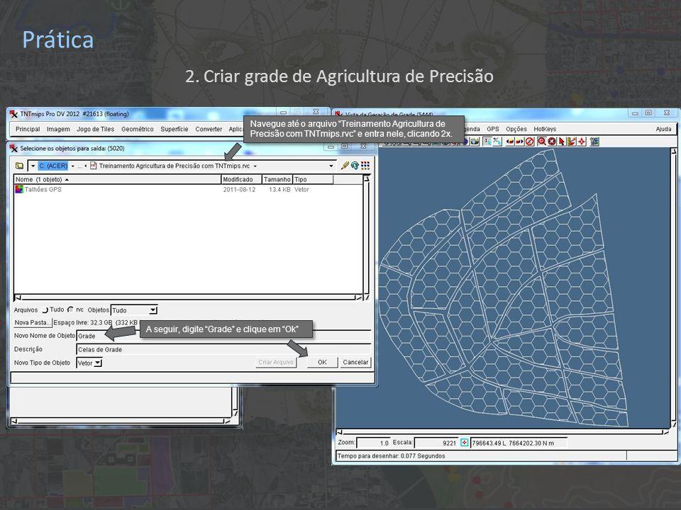 Prática A seguir, digite Grade e clique em Ok Navegue até o arquivo Treinamento Agricultura de Precisão com TNTmips.rvc e entra nele, clicando 2x.