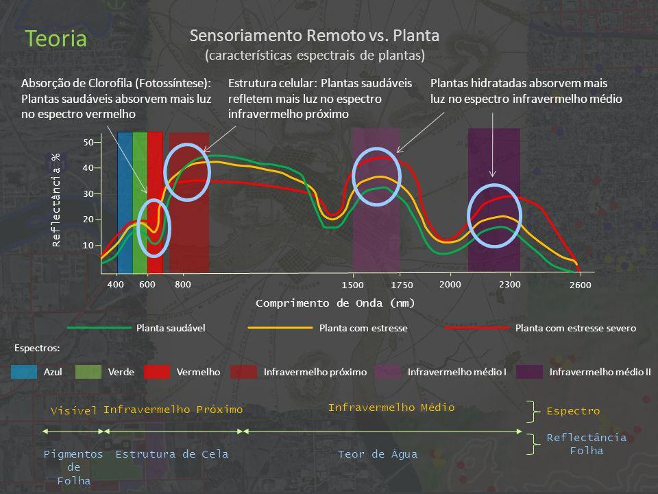 Sensoriamento Remoto vs. Planta (características espectrais de plantas) 4006008002000 2600 10 20 30 40 50 Absorção de Clorofila (Fotossíntese): Planta