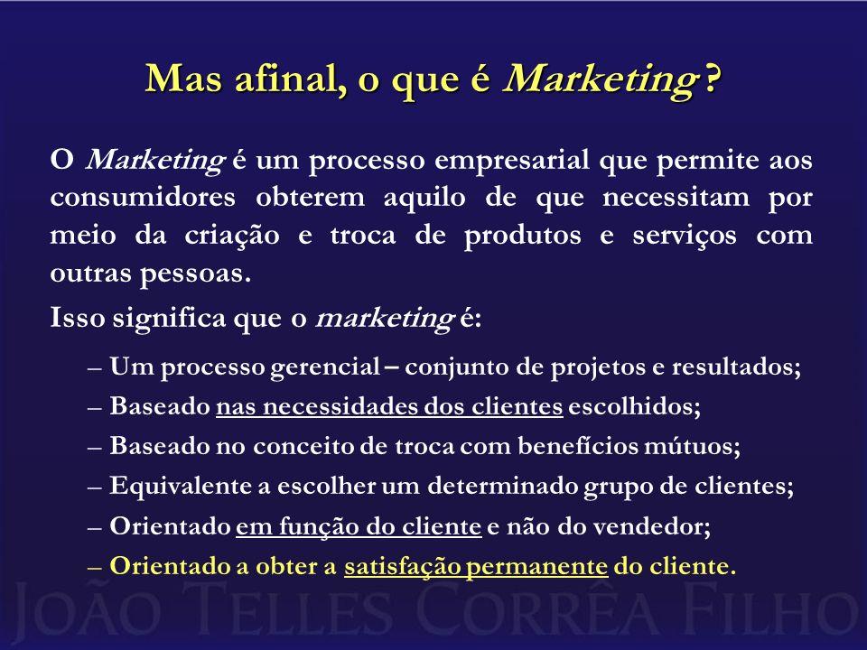 Mas afinal, o que é Marketing ? O Marketing é um processo empresarial que permite aos consumidores obterem aquilo de que necessitam por meio da criaçã