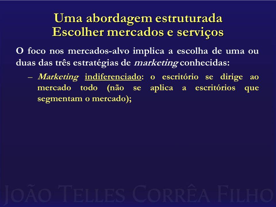 Uma abordagem estruturada Escolher mercados e serviços O foco nos mercados-alvo implica a escolha de uma ou duas das três estratégias de marketing con