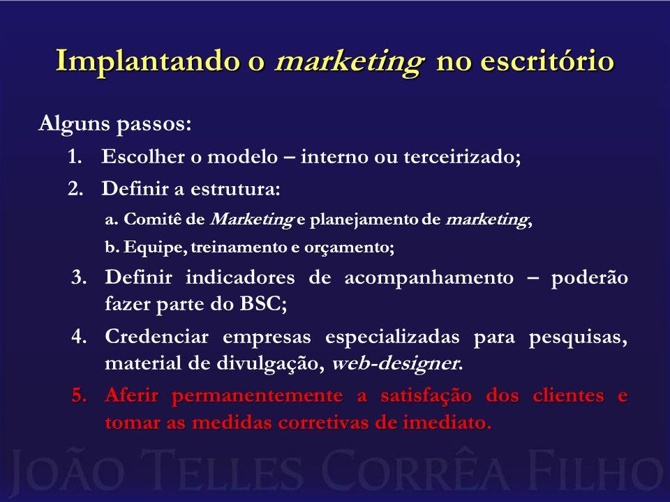 Implantando o marketing no escritório Alguns passos: 1.Escolher o modelo – interno ou terceirizado; 2.Definir a estrutura: a.Comitê de Marketing e pla