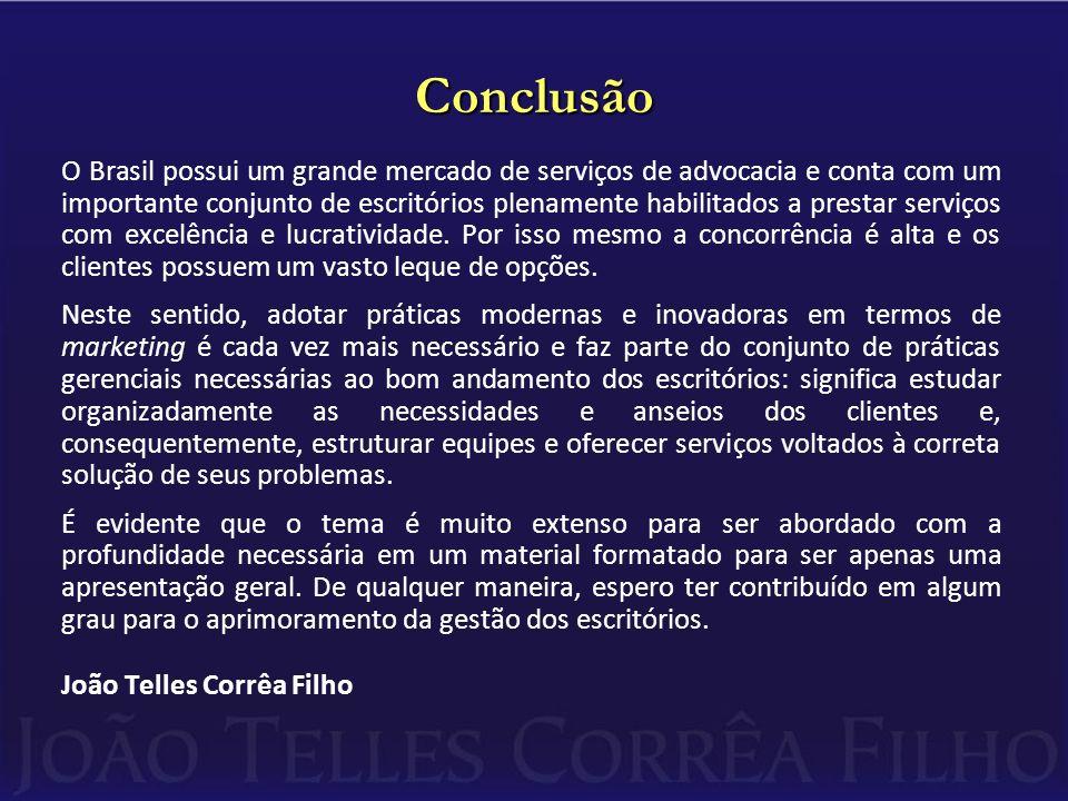 Conclusão O Brasil possui um grande mercado de serviços de advocacia e conta com um importante conjunto de escritórios plenamente habilitados a prestar serviços com excelência e lucratividade.