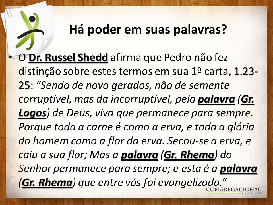 Há poder em suas palavras? Dr. Russel Shedd 1.23- 25 palavraGr. Logos palavraGr. Rhema palavra Gr. Rhema O Dr. Russel Shedd afirma que Pedro não fez d