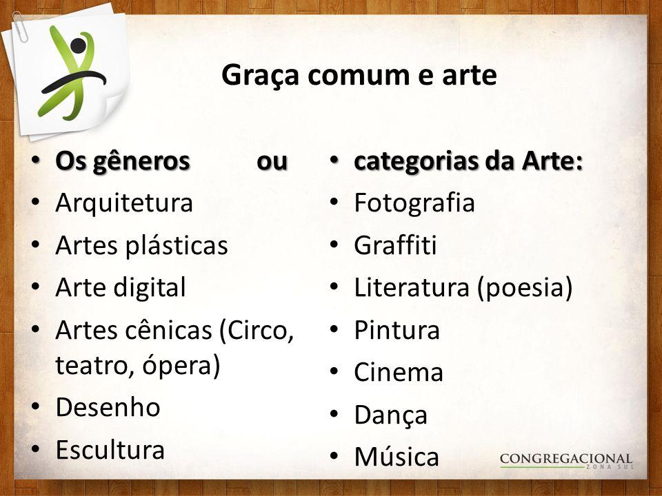 Graça comum e arte Os gêneros ou Os gêneros ou Arquitetura Artes plásticas Arte digital Artes cênicas (Circo, teatro, ópera) Desenho Escultura categor