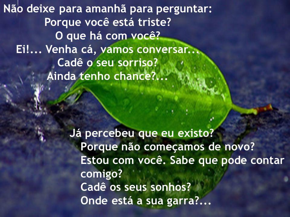 Não deixe para amanhã: O seu sorriso, O seu abraço, O seu carinho, O seu trabalho, O seu sonho, A sua ajuda...