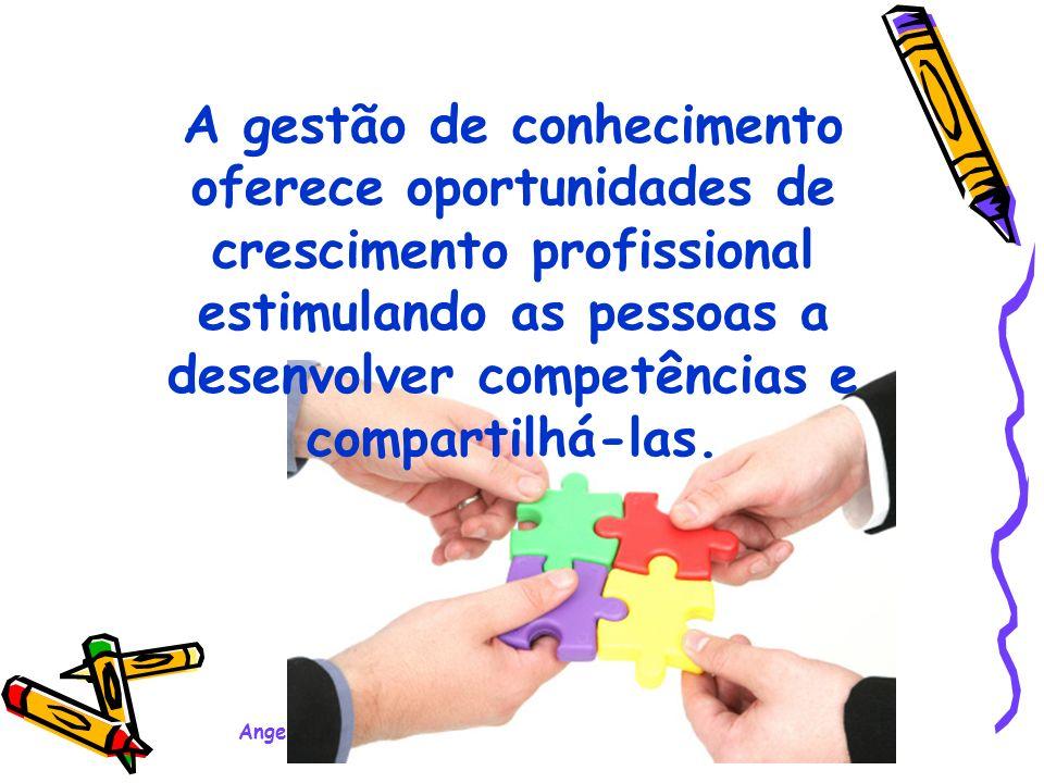 Angela Becker – Palestra Motivacional Ensino Médio - 2008 A gestão de conhecimento oferece oportunidades de crescimento profissional estimulando as pessoas a desenvolver competências e compartilhá-las.