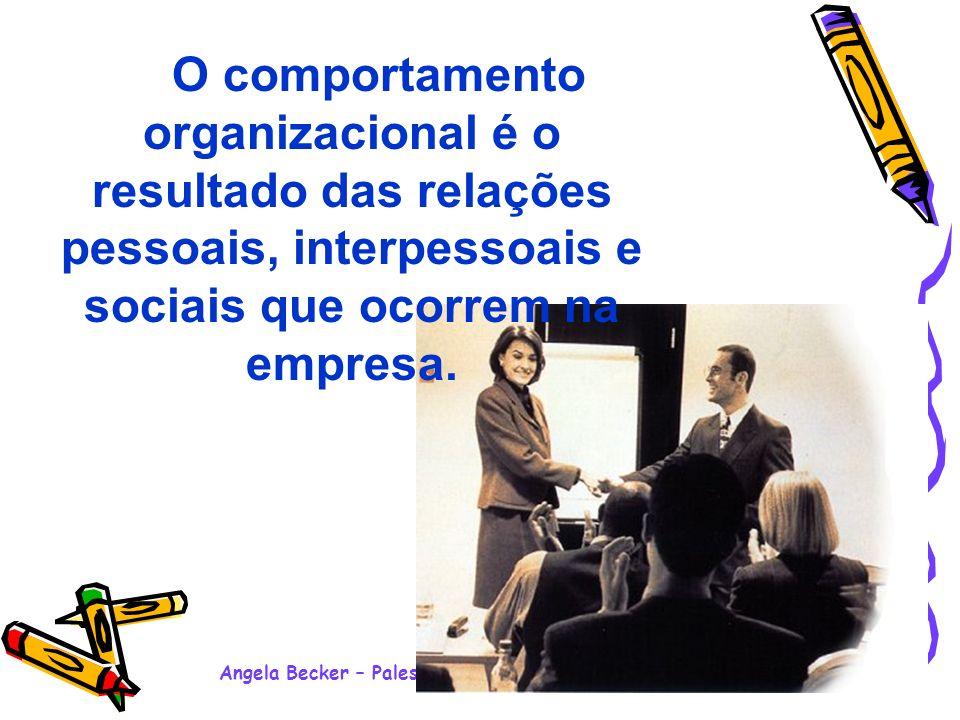 Angela Becker – Palestra Motivacional Ensino Médio - 2008 O comportamento organizacional é o resultado das relações pessoais, interpessoais e sociais que ocorrem na empresa.