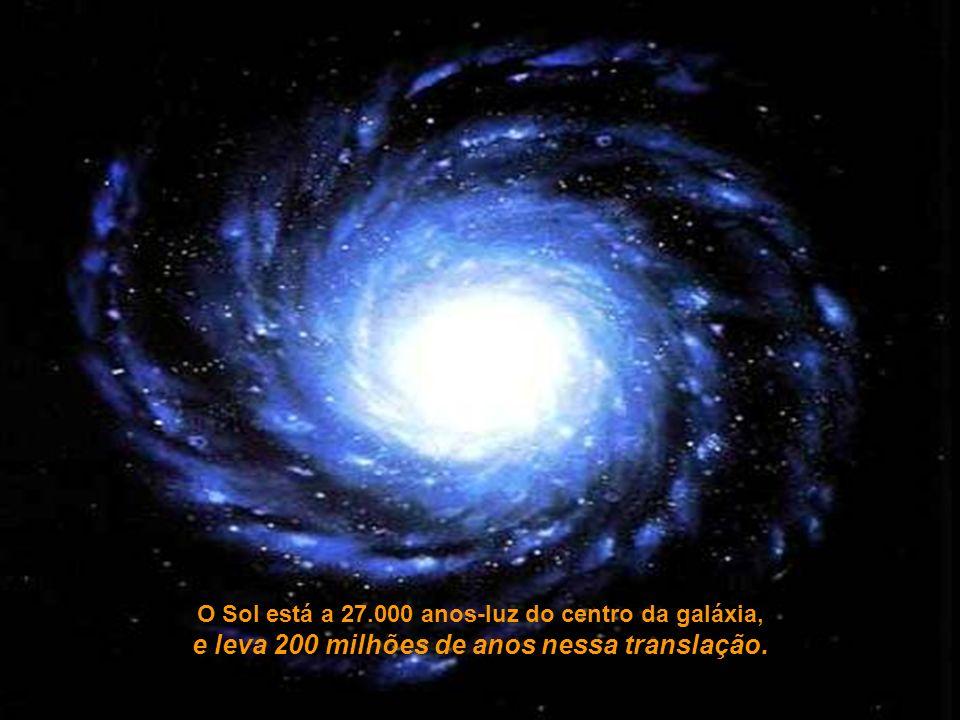 O Sol está a 27.000 anos-luz do centro da galáxia, e leva 200 milhões de anos nessa translação.