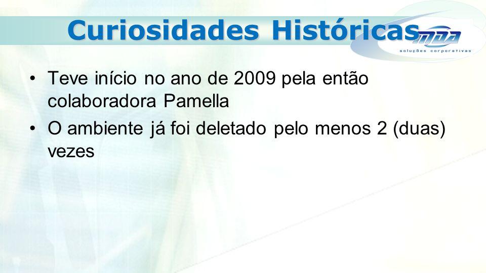 Curiosidades Históricas Teve início no ano de 2009 pela então colaboradora Pamella O ambiente já foi deletado pelo menos 2 (duas) vezes