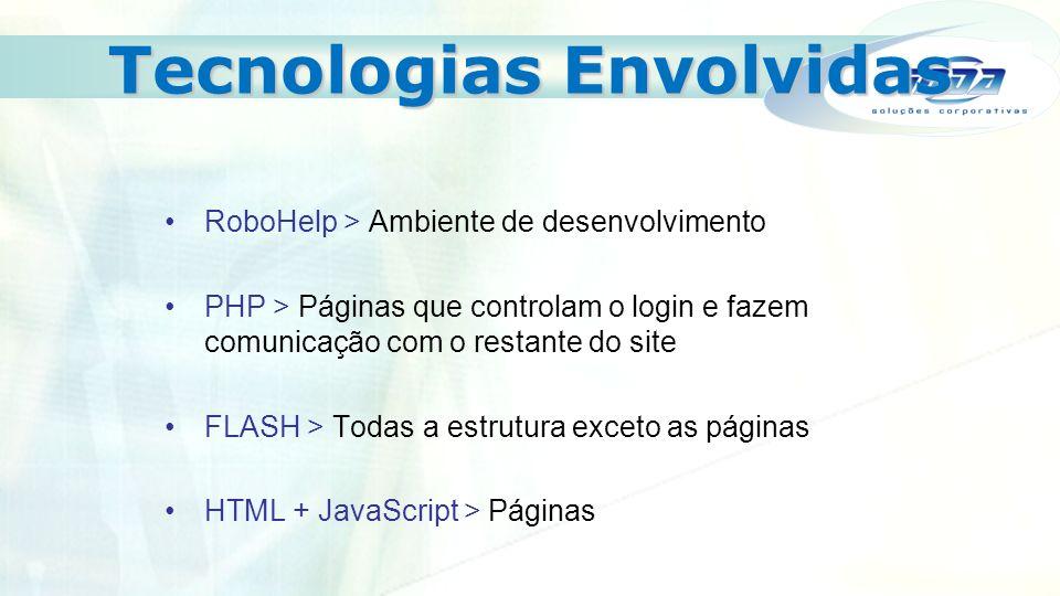 Tecnologias Envolvidas RoboHelp > Ambiente de desenvolvimento PHP > Páginas que controlam o login e fazem comunicação com o restante do site FLASH > Todas a estrutura exceto as páginas HTML + JavaScript > Páginas
