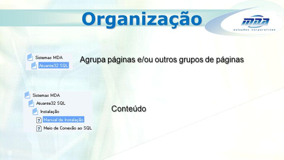 Organização Agrupa páginas e/ou outros grupos de páginas Conteúdo