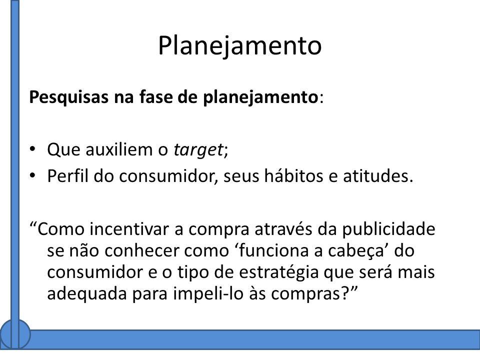 Planejamento Pesquisas na fase de planejamento: Que auxiliem o target; Perfil do consumidor, seus hábitos e atitudes. Como incentivar a compra através