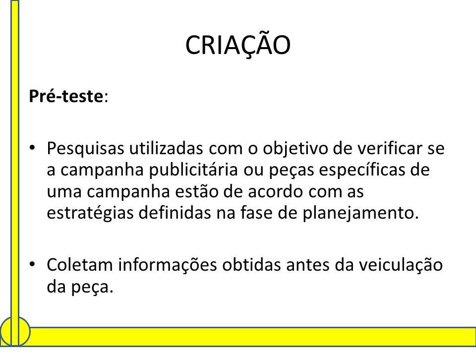 CRIAÇÃO Pré-teste: Pesquisas utilizadas com o objetivo de verificar se a campanha publicitária ou peças específicas de uma campanha estão de acordo co