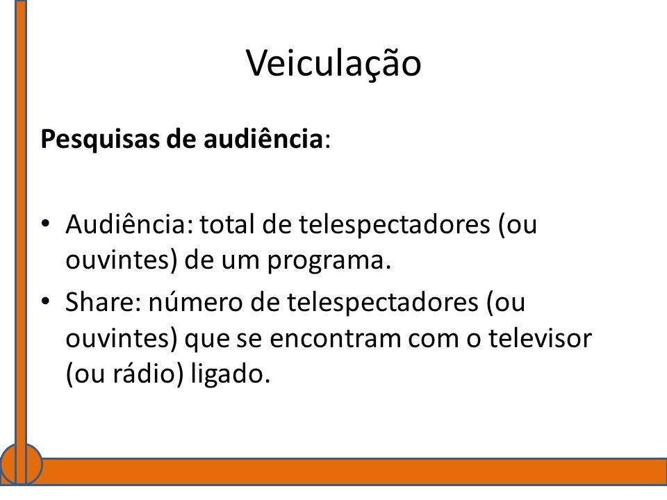Veiculação Pesquisas de audiência: Audiência: total de telespectadores (ou ouvintes) de um programa. Share: número de telespectadores (ou ouvintes) qu