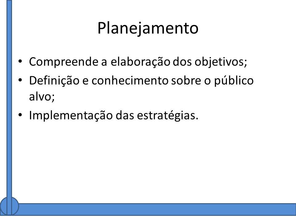 Planejamento Compreende a elaboração dos objetivos; Definição e conhecimento sobre o público alvo; Implementação das estratégias.
