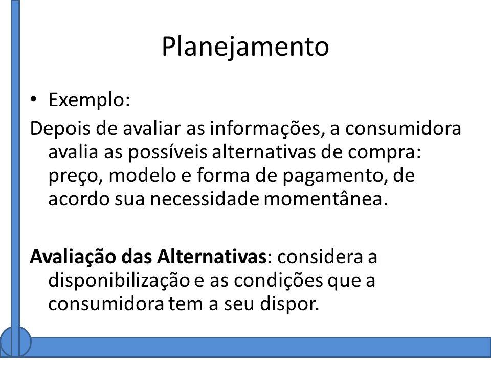 Planejamento Exemplo: Depois de avaliar as informações, a consumidora avalia as possíveis alternativas de compra: preço, modelo e forma de pagamento,