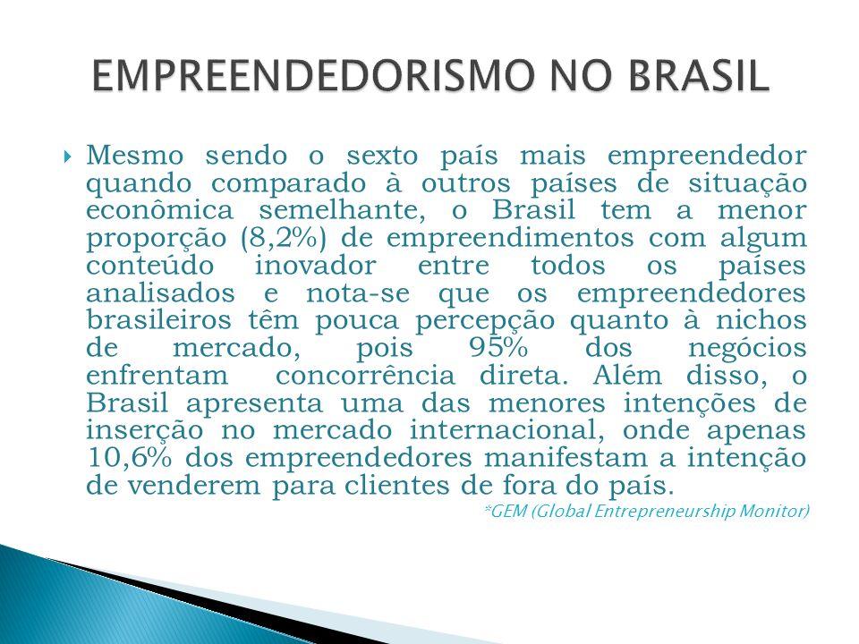Mesmo sendo o sexto país mais empreendedor quando comparado à outros países de situação econômica semelhante, o Brasil tem a menor proporção (8,2%) de