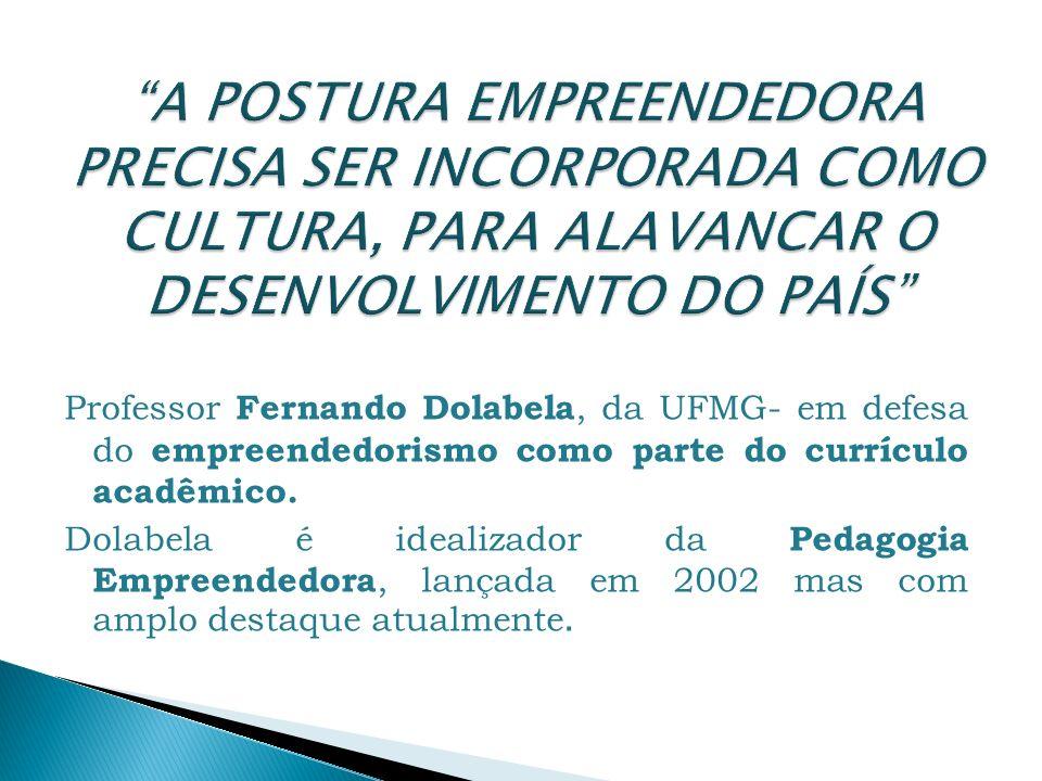 Professor Fernando Dolabela, da UFMG- em defesa do empreendedorismo como parte do currículo acadêmico. Dolabela é idealizador da Pedagogia Empreendedo