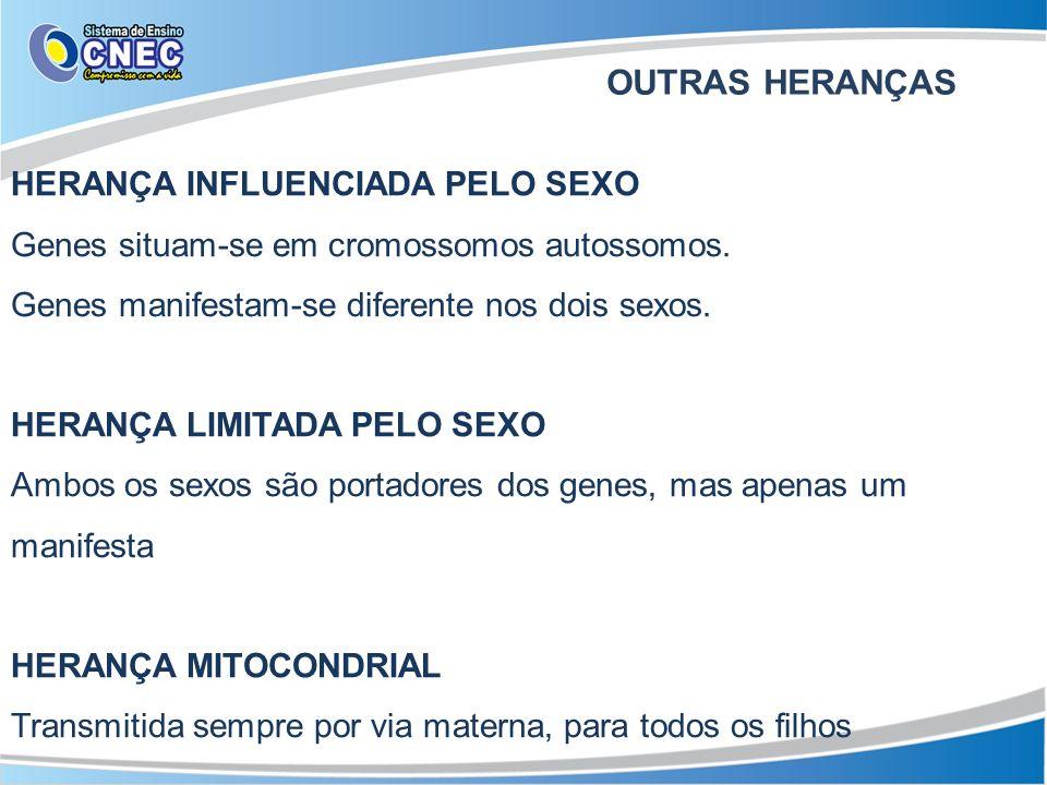 HERANÇA INFLUENCIADA PELO SEXO Genes situam-se em cromossomos autossomos. Genes manifestam-se diferente nos dois sexos. HERANÇA LIMITADA PELO SEXO Amb