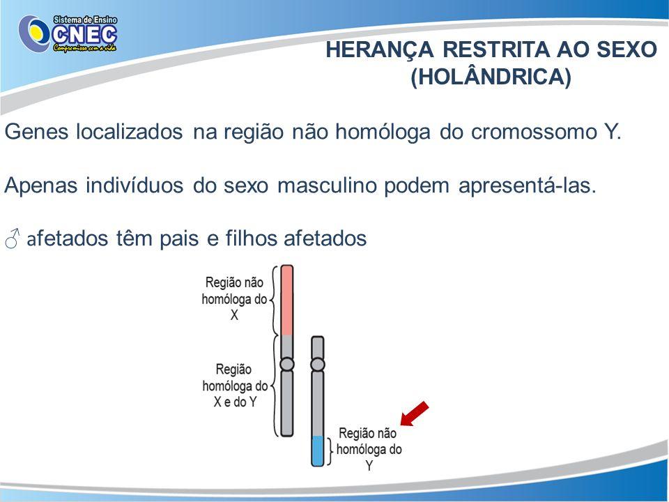 Genes localizados na região não homóloga do cromossomo Y. Apenas indivíduos do sexo masculino podem apresentá-las. a fetados têm pais e filhos afetado
