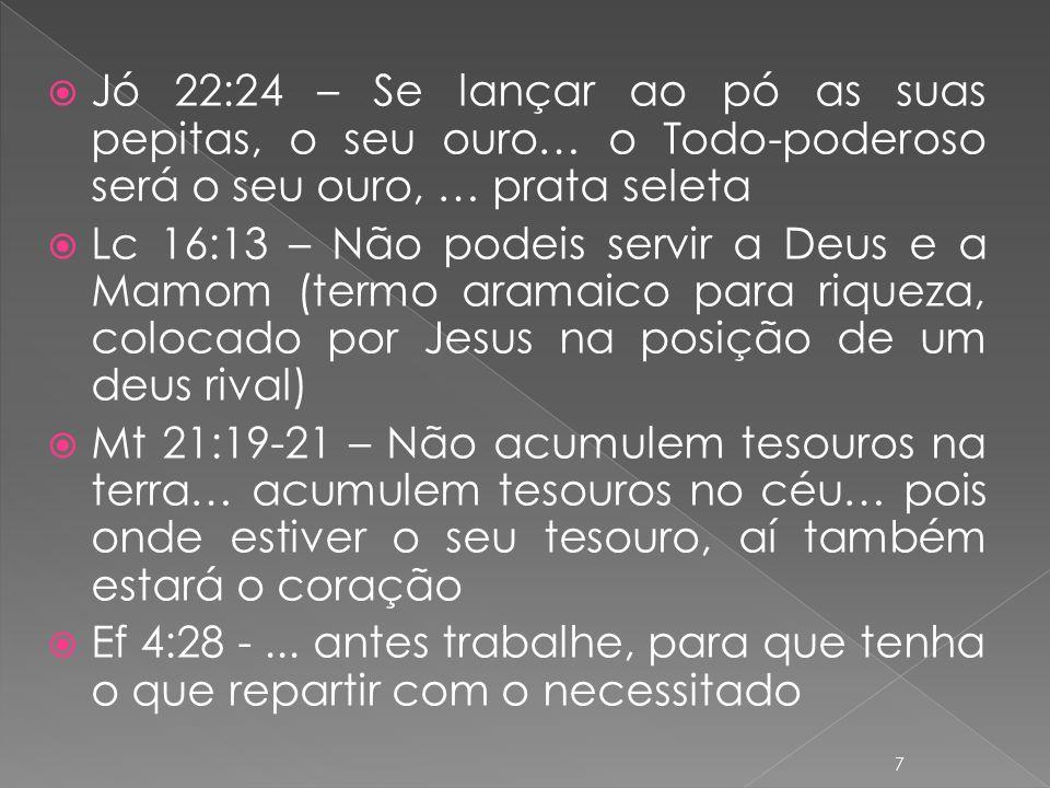 Jó 22:24 – Se lançar ao pó as suas pepitas, o seu ouro… o Todo-poderoso será o seu ouro, … prata seleta Lc 16:13 – Não podeis servir a Deus e a Mamom