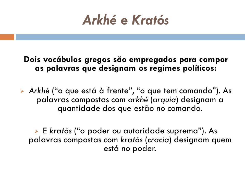 Arkhé e Kratós Dois vocábulos gregos são empregados para compor as palavras que designam os regimes políticos: Arkhé (o que está à frente, o que tem c
