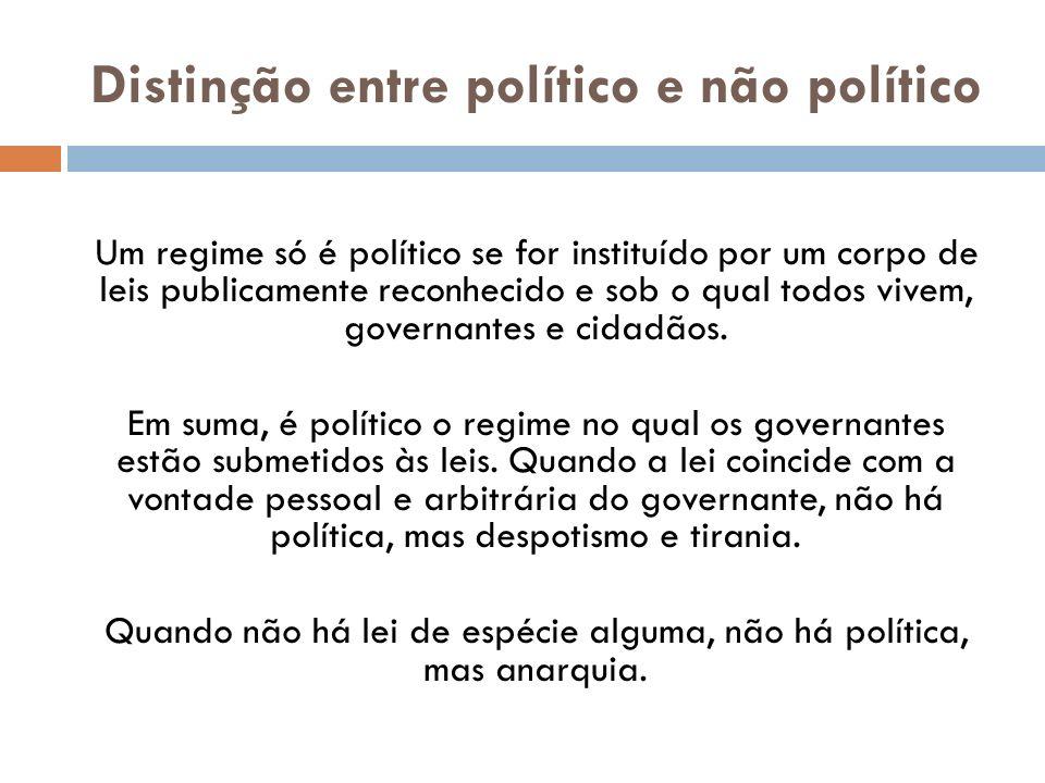 Distinção entre político e não político Um regime só é político se for instituído por um corpo de leis publicamente reconhecido e sob o qual todos viv