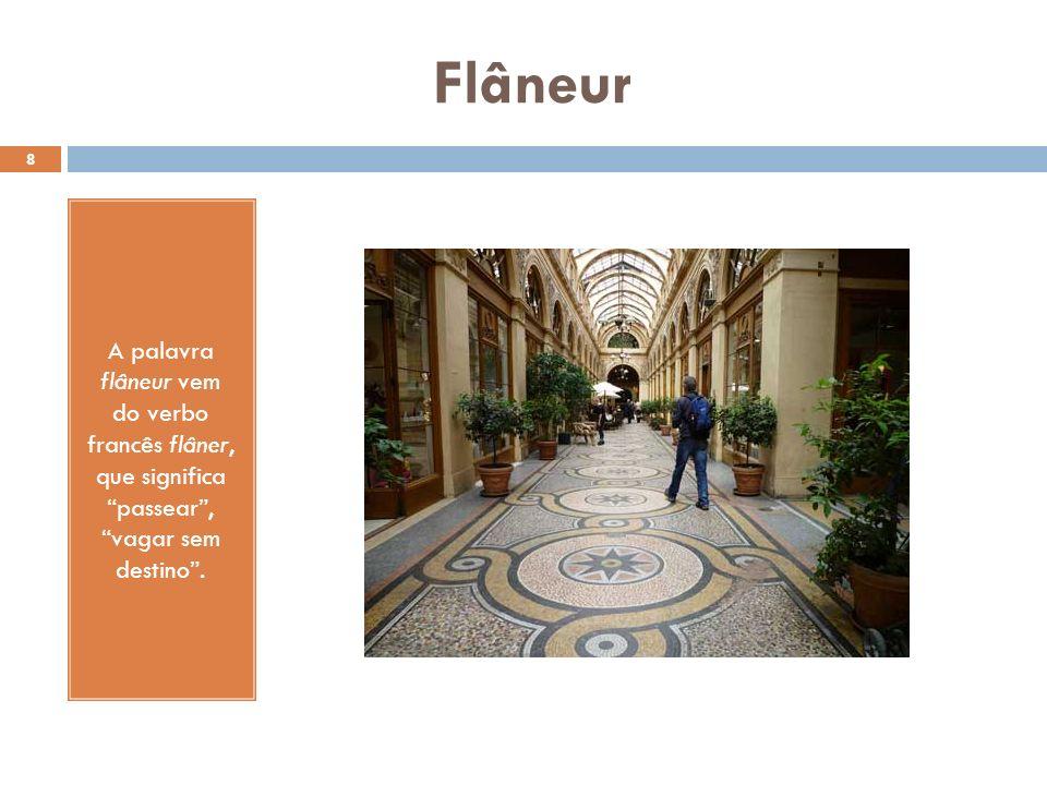 9 O flâneur é, assim, aquele que caminha pela cidade, experimentando as diferentes sensações que ela produz sem se fixar em um lugar específico.