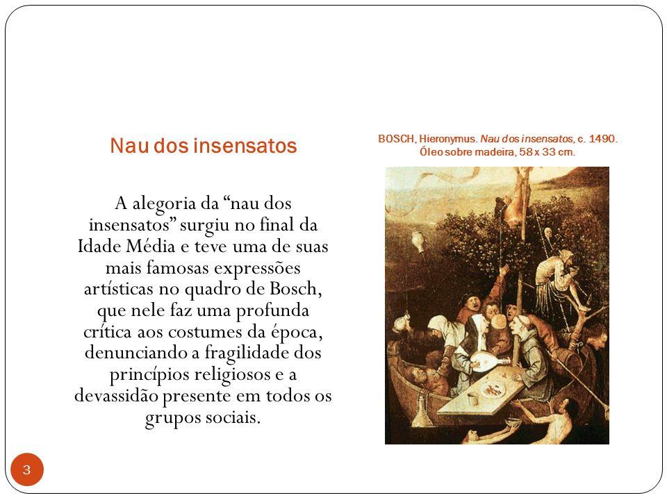Nau dos insensatos BOSCH, Hieronymus. Nau dos insensatos, c. 1490. Óleo sobre madeira, 58 x 33 cm. A alegoria da nau dos insensatos surgiu no final da