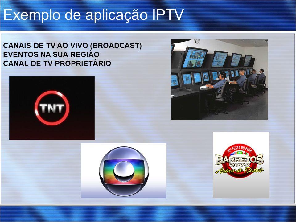 Exemplo de aplicação IPTV CANAIS DE TV AO VIVO (BROADCAST) EVENTOS NA SUA REGIÃO CANAL DE TV PROPRIETÁRIO