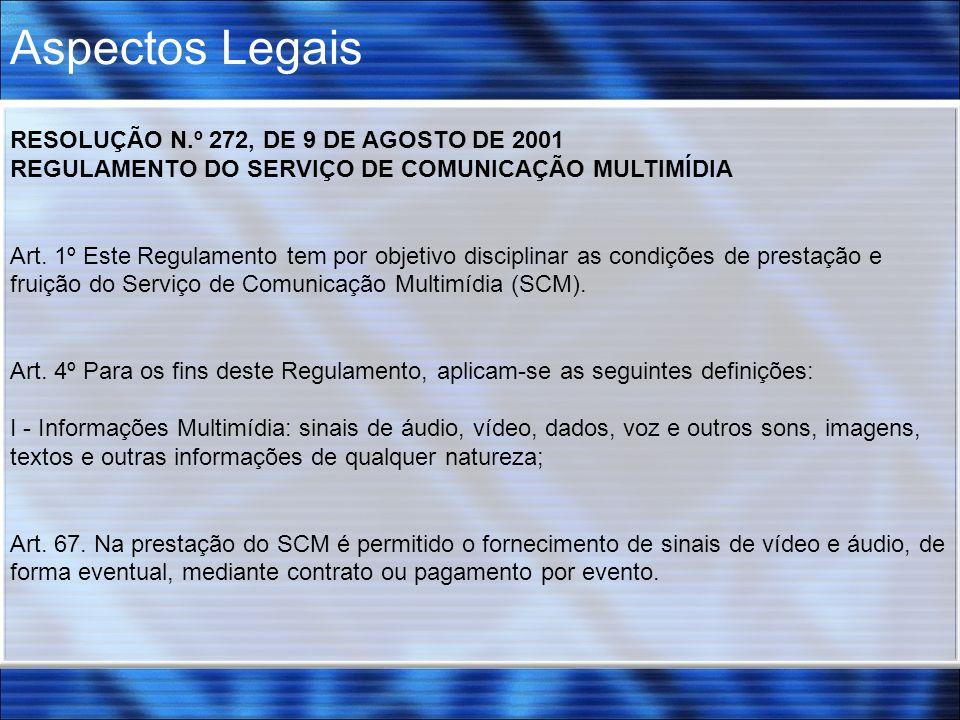 Aspectos Legais RESOLUÇÃO N.º 272, DE 9 DE AGOSTO DE 2001 REGULAMENTO DO SERVIÇO DE COMUNICAÇÃO MULTIMÍDIA Art. 1º Este Regulamento tem por objetivo d