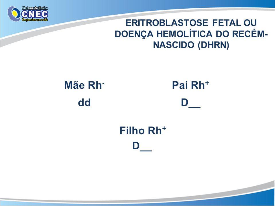 ERITROBLASTOSE FETAL OU DOENÇA HEMOLÍTICA DO RECÉM- NASCIDO (DHRN) Mãe Rh - Pai Rh + Filho Rh + ddD__