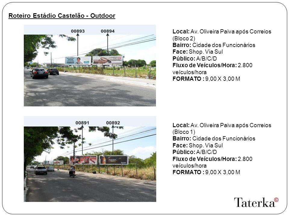 Roteiro Estádio Castelão - Outdoor Local: Av. Oliveira Paiva após Correios (Bloco 2) Bairro: Cidade dos Funcionários Face: Shop. Via Sul Público: A/B/