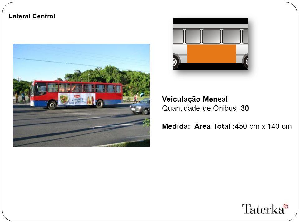 Lateral Central Veiculação Mensal Quantidade de Ônibus 30 Medida: Área Total :450 cm x 140 cm